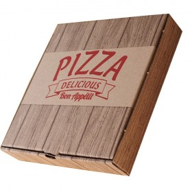 Baskılı Pizza Kutusu 26x26x4 cm (100 Adet) Model 2021
