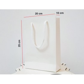 Beyaz Karton Çanta 100 ADET 20*25*10 cm 1.Sınıf El Yapımı Yerli Üretim