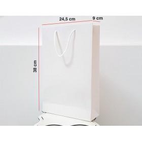 Parlak Beyaz Karton Çanta 25 ADET 24,5*38*9 cm 1.Sınıf El Yapımı Yerli Üretim