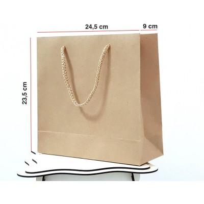 Kraft Karton Çanta 100 ADET 23,5*24,4*9 cm 1.Sınıf El Yapımı Yerli Üretim