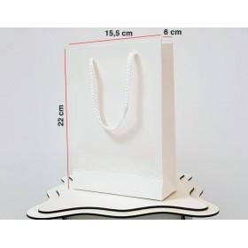 Parlak Beyaz Karton Çanta 100 ADET 15,5*22*6 cm 1.Sınıf El Yapımı Yerli Üretim