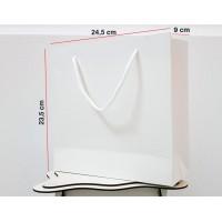 Parlak Beyaz Karton Çanta 100 ADET 23,5*24,5*9 cm  1.Sınıf El Yapımı Yerli Üretim