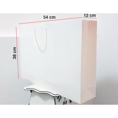 Parlak Beyaz Karton Çanta 100 ADET 38*54*12 cm  1.Sınıf El Yapımı Yerli Üretim