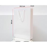 Parlak Beyaz Karton Çanta 100ADET 24,5*38*9 cm 1.Sınıf El Yapımı Yerli Üretim