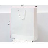 Parlak Beyaz Karton Çanta 100ADET 32*38*12 cm 1.Sınıf El Yapımı Yerli Üretim