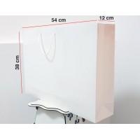 Parlak Beyaz Karton Çanta 25 ADET 38*54*12 cm 1.Sınıf El Yapımı Yerli Üretim