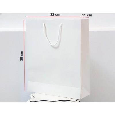 Parlak Beyaz Karton Çanta 25 ADET 32*38*12 cm 1.Sınıf El Yapımı Yerli Üretim